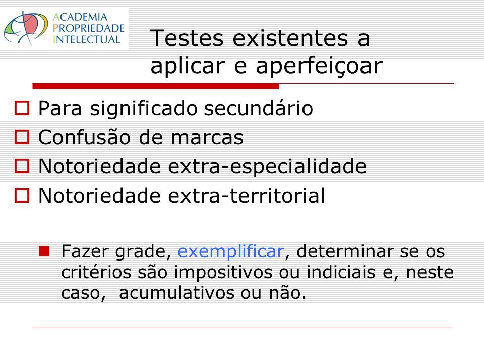 Testes existentes a aplicar e aperfeiçoar Para significado secundário Confusão de marcas Notoriedade extra-especialidade Notoriedade extra-territorial