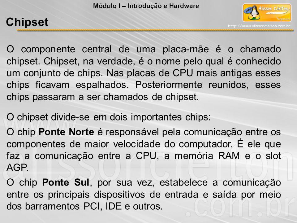 O componente central de uma placa-mãe é o chamado chipset. Chipset, na verdade, é o nome pelo qual é conhecido um conjunto de chips. Nas placas de CPU