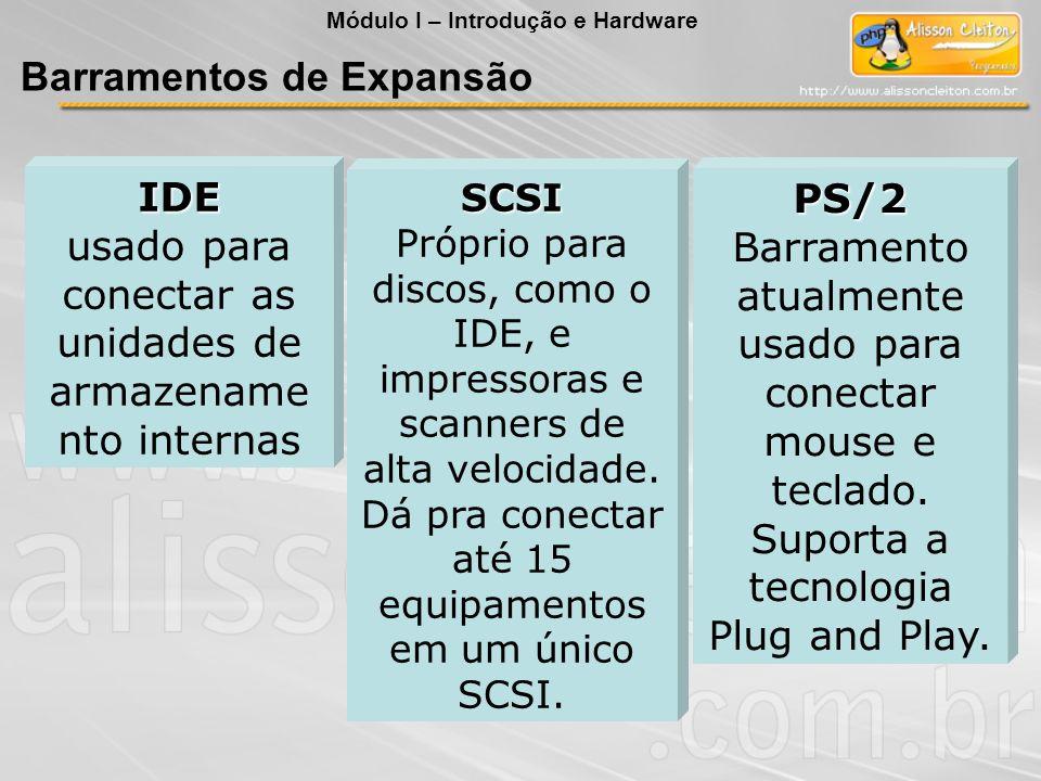IDE usado para conectar as unidades de armazename nto internas SCSI Próprio para discos, como o IDE, e impressoras e scanners de alta velocidade. Dá p