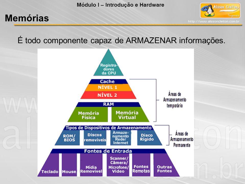 É todo componente capaz de ARMAZENAR informações. Módulo I – Introdução e Hardware Memórias