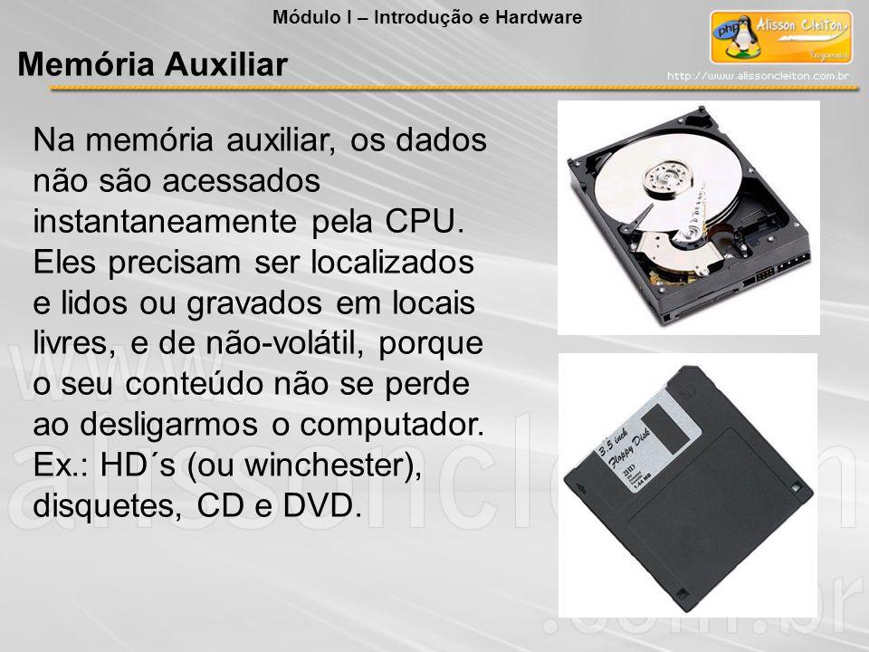 Na memória auxiliar, os dados não são acessados instantaneamente pela CPU. Eles precisam ser localizados e lidos ou gravados em locais livres, e de nã
