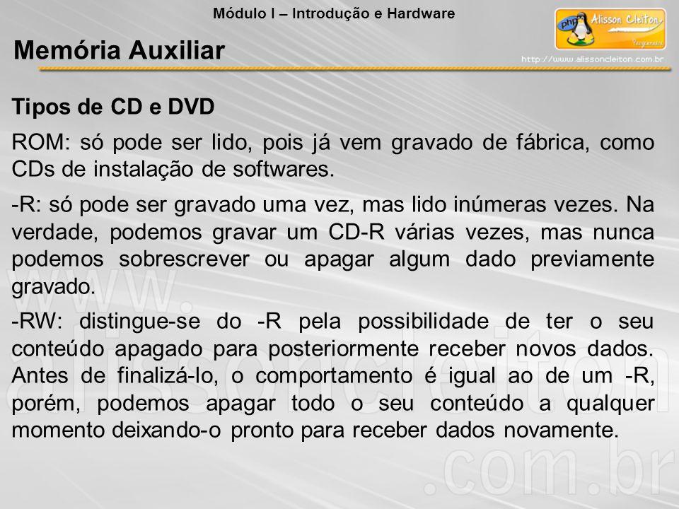 Tipos de CD e DVD ROM: só pode ser lido, pois já vem gravado de fábrica, como CDs de instalação de softwares. -R: só pode ser gravado uma vez, mas lid