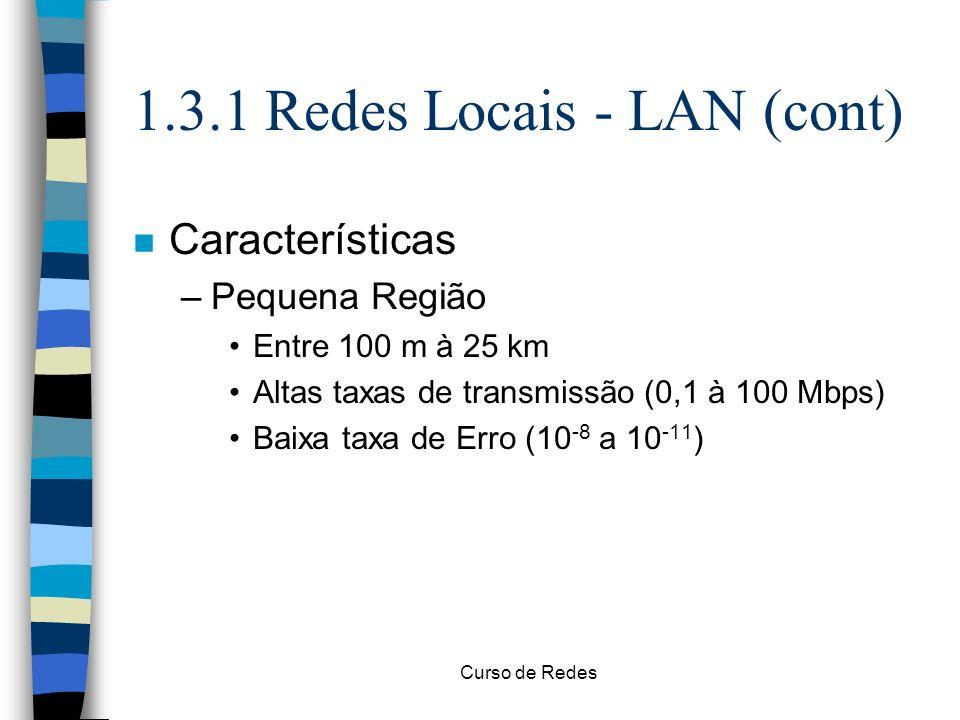 Curso de Redes 1.3.1 Redes Locais - LAN (cont) n Características –Pequena Região Entre 100 m à 25 km Altas taxas de transmissão (0,1 à 100 Mbps) Baixa