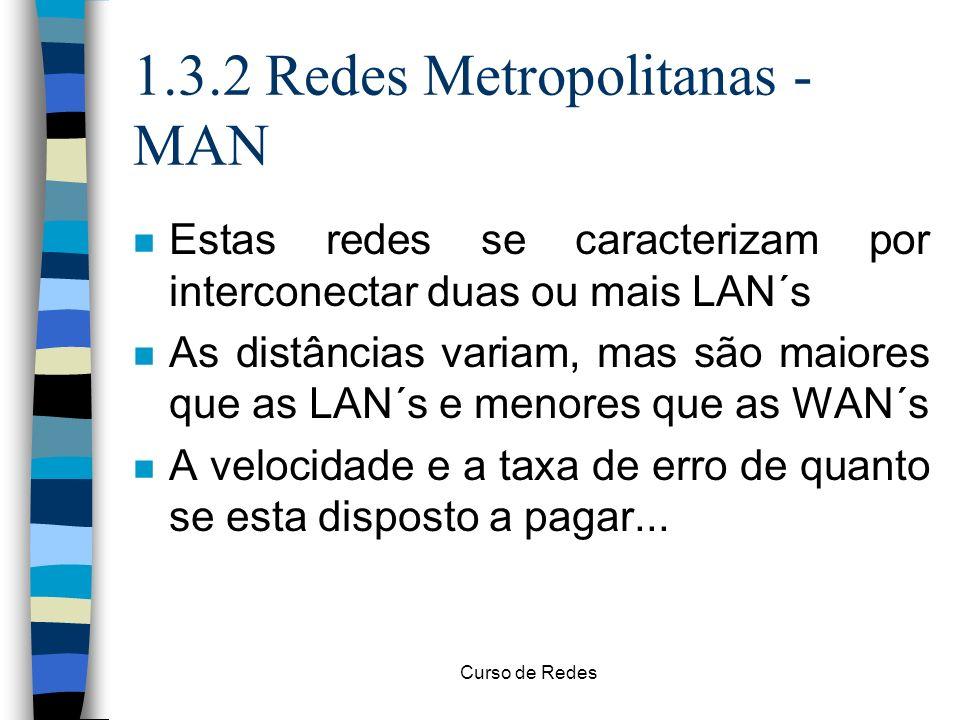 Curso de Redes 1.3.2 Redes Metropolitanas - MAN n Estas redes se caracterizam por interconectar duas ou mais LAN´s n As distâncias variam, mas são mai