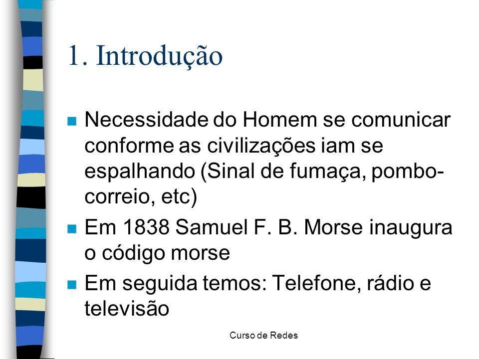 Curso de Redes 1. Introdução n Necessidade do Homem se comunicar conforme as civilizações iam se espalhando (Sinal de fumaça, pombo- correio, etc) n E