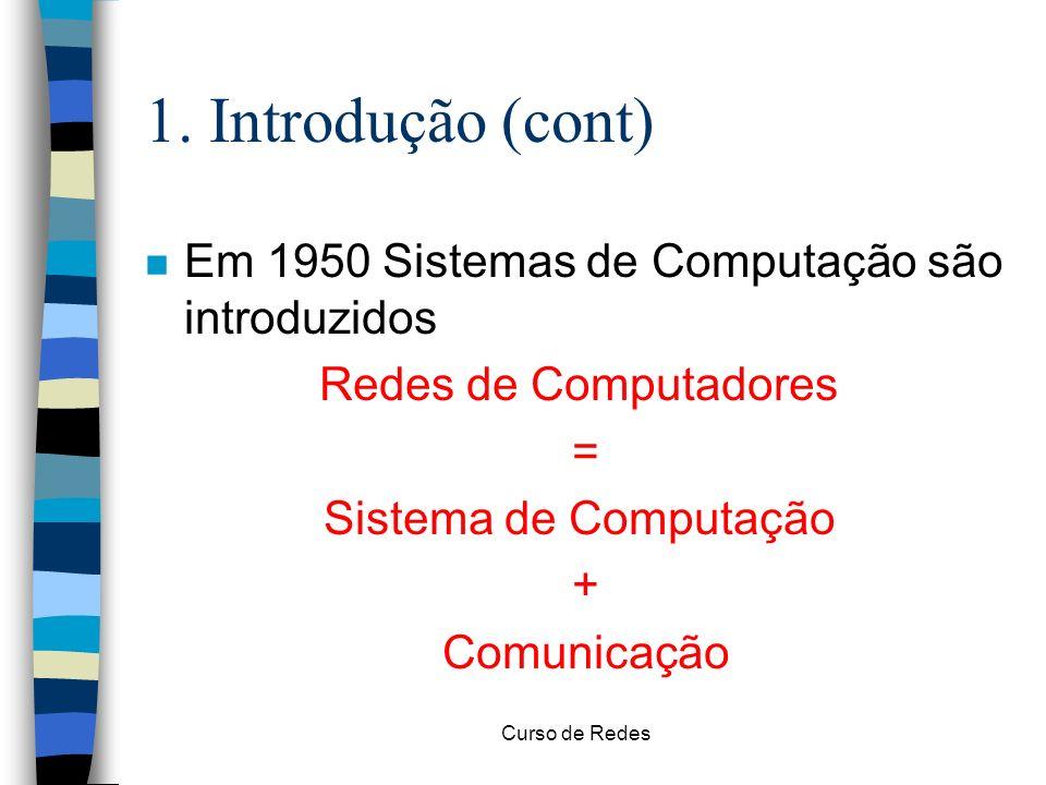Curso de Redes 1. Introdução (cont) n Em 1950 Sistemas de Computação são introduzidos Redes de Computadores = Sistema de Computação + Comunicação