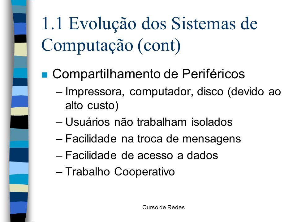 Curso de Redes 1.1 Evolução dos Sistemas de Computação (cont) n Compartilhamento de Periféricos –Impressora, computador, disco (devido ao alto custo)