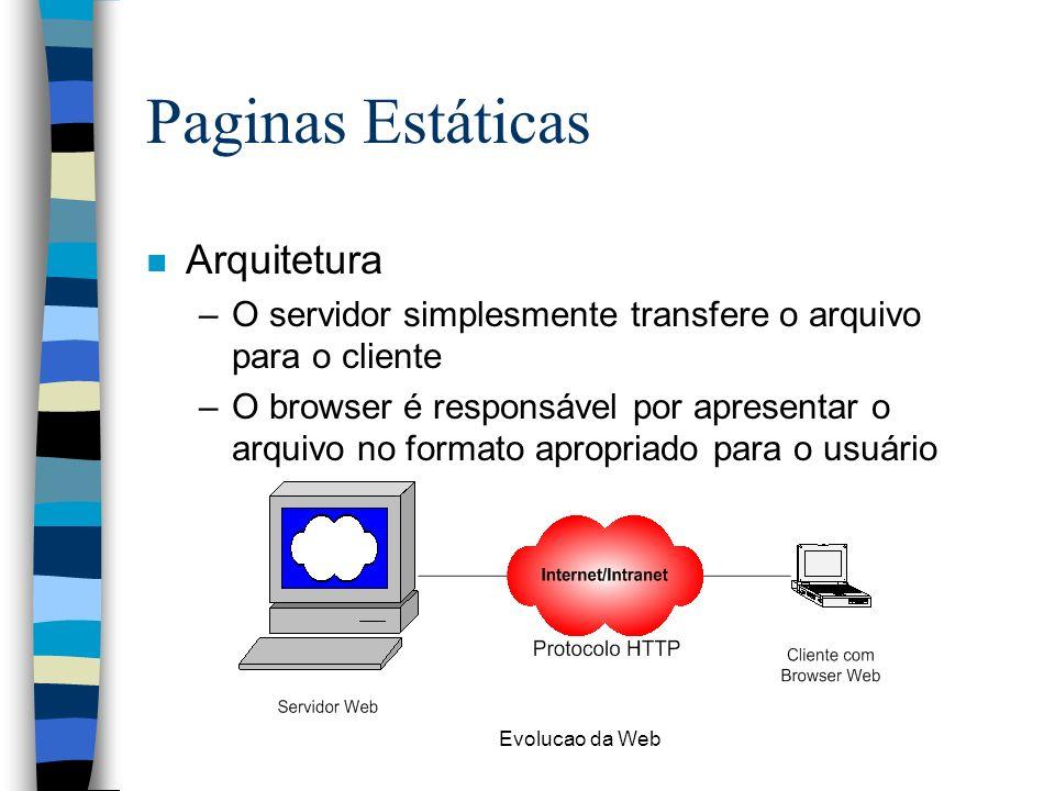Evolucao da Web Paginas Estáticas n Arquitetura –O servidor simplesmente transfere o arquivo para o cliente –O browser é responsável por apresentar o arquivo no formato apropriado para o usuário