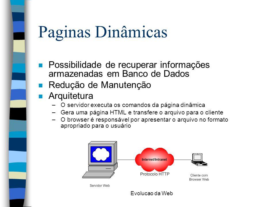Evolucao da Web Paginas Dinâmicas n Possibilidade de recuperar informações armazenadas em Banco de Dados n Redução de Manutenção n Arquitetura –O servidor executa os comandos da página dinâmica –Gera uma página HTML e transfere o arquivo para o cliente –O browser é responsável por apresentar o arquivo no formato apropriado para o usuário
