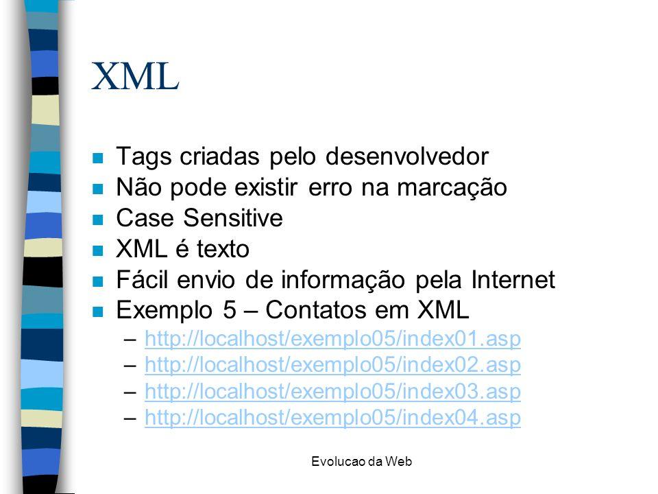 Evolucao da Web XML n Tags criadas pelo desenvolvedor n Não pode existir erro na marcação n Case Sensitive n XML é texto n Fácil envio de informação pela Internet n Exemplo 5 – Contatos em XML –http://localhost/exemplo05/index01.asphttp://localhost/exemplo05/index01.asp –http://localhost/exemplo05/index02.asphttp://localhost/exemplo05/index02.asp –http://localhost/exemplo05/index03.asphttp://localhost/exemplo05/index03.asp –http://localhost/exemplo05/index04.asphttp://localhost/exemplo05/index04.asp