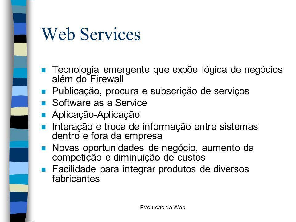 Evolucao da Web Web Services n Tecnologia emergente que expõe lógica de negócios além do Firewall n Publicação, procura e subscrição de serviços n Sof