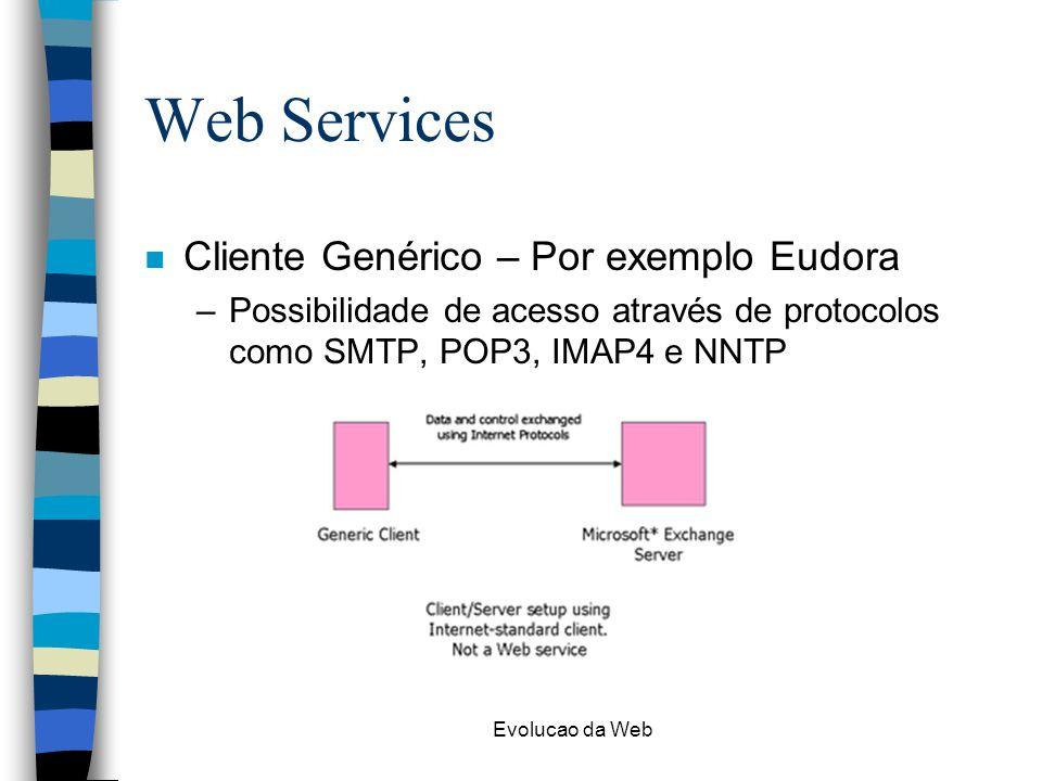 Evolucao da Web Web Services n Cliente Genérico – Por exemplo Eudora –Possibilidade de acesso através de protocolos como SMTP, POP3, IMAP4 e NNTP