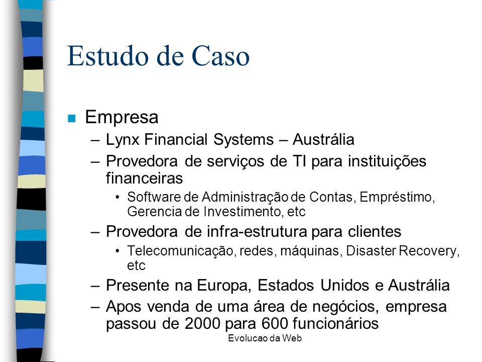 Evolucao da Web Estudo de Caso n Empresa –Lynx Financial Systems – Austrália –Provedora de serviços de TI para instituições financeiras Software de Administração de Contas, Empréstimo, Gerencia de Investimento, etc –Provedora de infra-estrutura para clientes Telecomunicação, redes, máquinas, Disaster Recovery, etc –Presente na Europa, Estados Unidos e Austrália –Apos venda de uma área de negócios, empresa passou de 2000 para 600 funcionários
