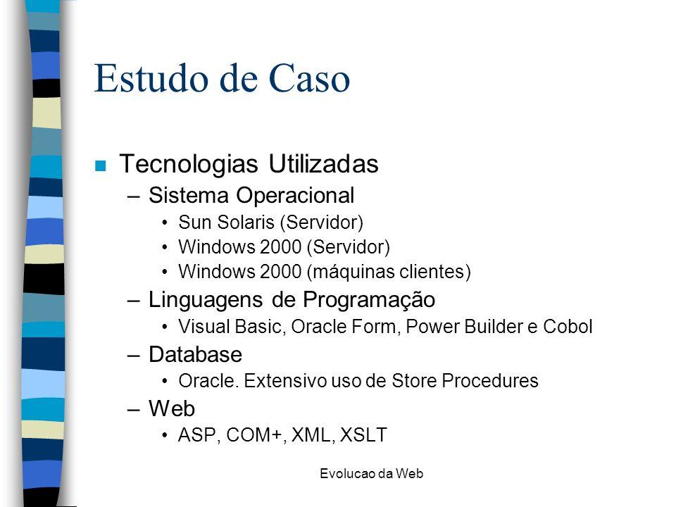 Evolucao da Web Estudo de Caso n Tecnologias Utilizadas –Sistema Operacional Sun Solaris (Servidor) Windows 2000 (Servidor) Windows 2000 (máquinas clientes) –Linguagens de Programação Visual Basic, Oracle Form, Power Builder e Cobol –Database Oracle.