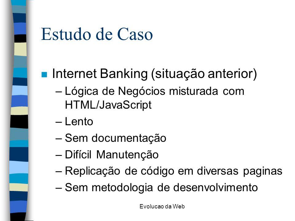 Evolucao da Web Estudo de Caso n Internet Banking (situação anterior) –Lógica de Negócios misturada com HTML/JavaScript –Lento –Sem documentação –Difícil Manutenção –Replicação de código em diversas paginas –Sem metodologia de desenvolvimento