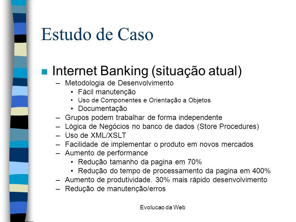 Evolucao da Web Estudo de Caso n Internet Banking (situação atual) –Metodologia de Desenvolvimento Fácil manutenção Uso de Componentes e Orientação a