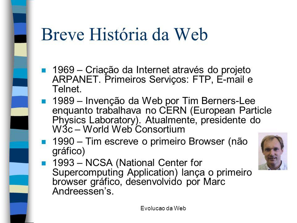 Evolucao da Web Breve História da Web n 1969 – Criação da Internet através do projeto ARPANET. Primeiros Serviços: FTP, E-mail e Telnet. n 1989 – Inve