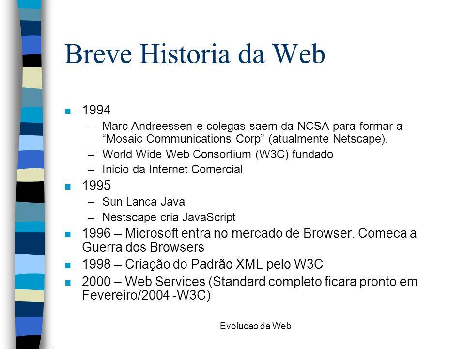 Evolucao da Web Breve Historia da Web n 1994 –Marc Andreessen e colegas saem da NCSA para formar a Mosaic Communications Corp (atualmente Netscape). –