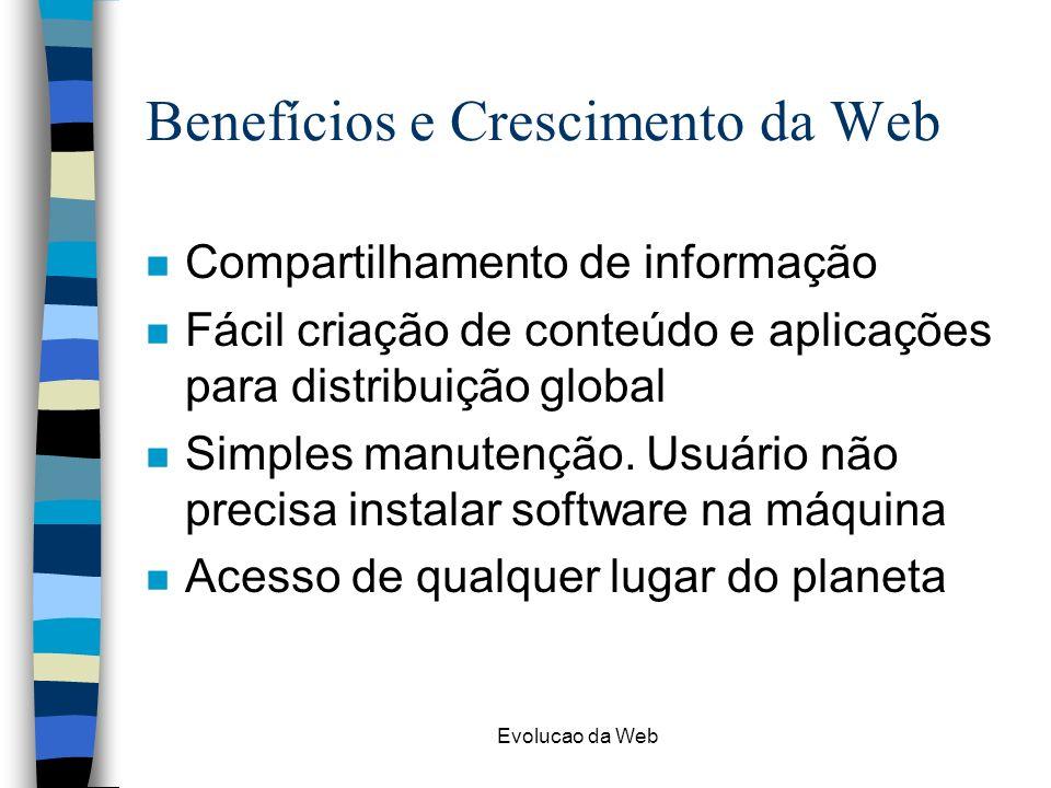 Evolucao da Web Benefícios e Crescimento da Web n Compartilhamento de informação n Fácil criação de conteúdo e aplicações para distribuição global n S