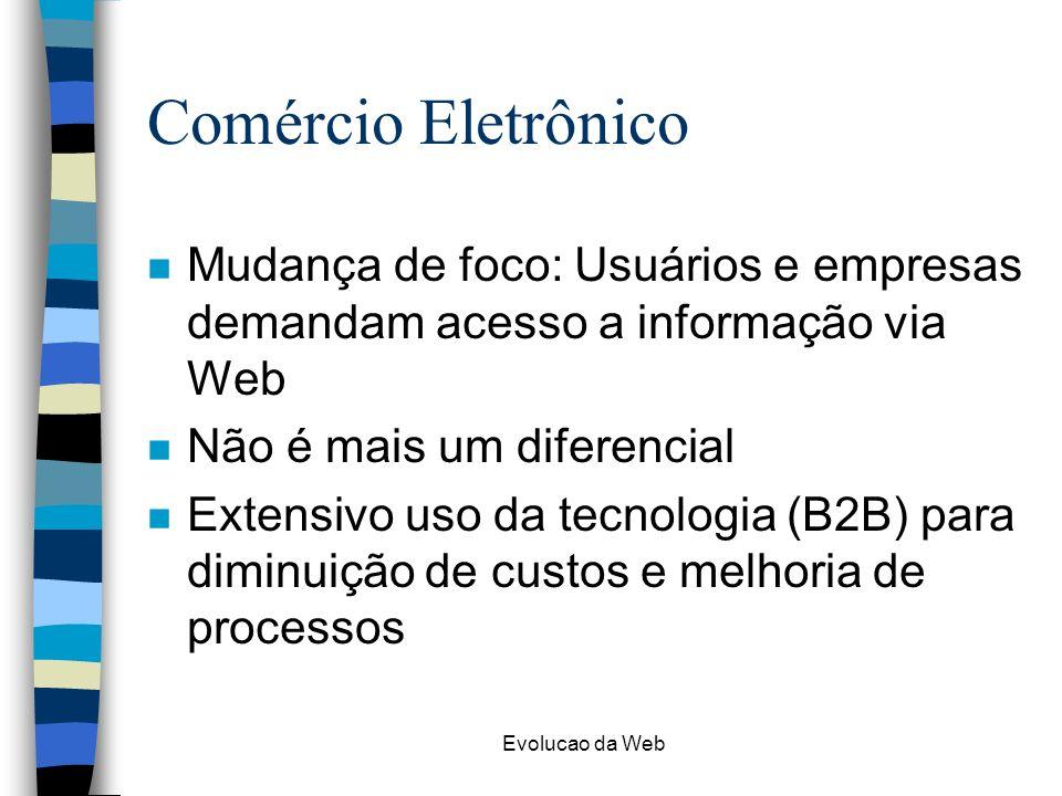 Evolucao da Web Comércio Eletrônico n Mudança de foco: Usuários e empresas demandam acesso a informação via Web n Não é mais um diferencial n Extensiv