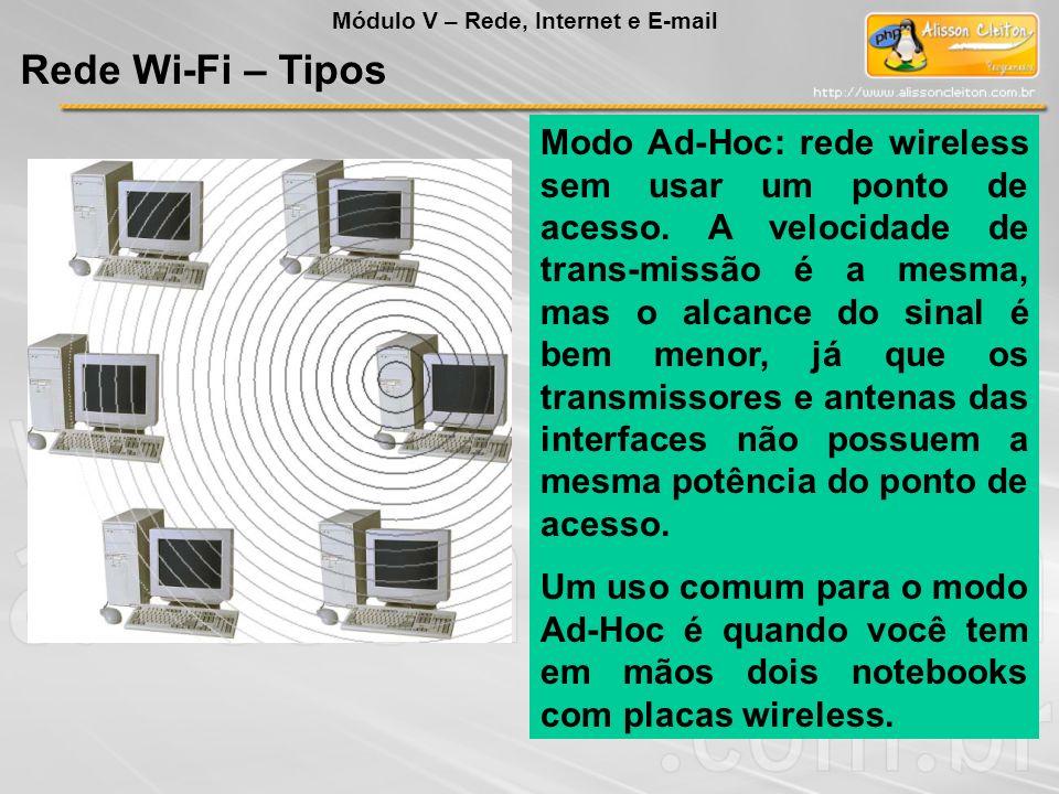 Modo Ad-Hoc: rede wireless sem usar um ponto de acesso. A velocidade de trans-missão é a mesma, mas o alcance do sinal é bem menor, já que os transmis