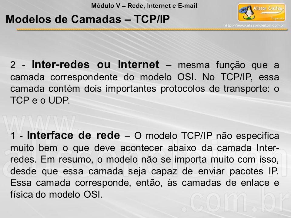 2 - Inter-redes ou Internet – mesma função que a camada correspondente do modelo OSI. No TCP/IP, essa camada contém dois importantes protocolos de tra