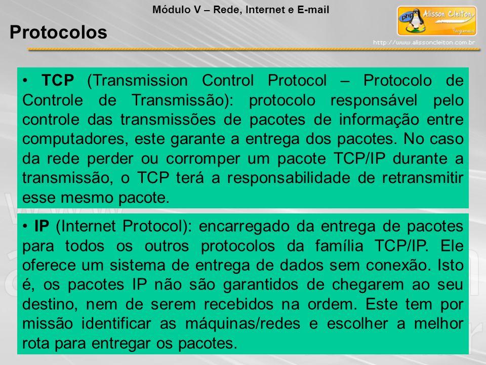 TCP (Transmission Control Protocol – Protocolo de Controle de Transmissão): protocolo responsável pelo controle das transmissões de pacotes de informa