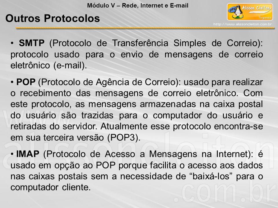SMTP (Protocolo de Transferência Simples de Correio): protocolo usado para o envio de mensagens de correio eletrônico (e-mail). POP (Protocolo de Agên