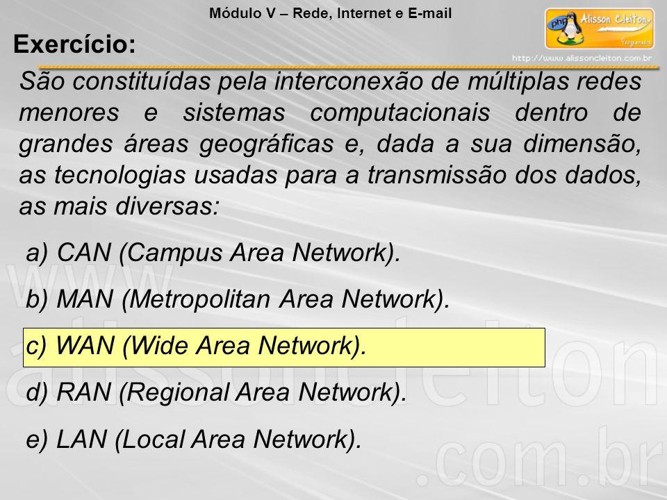 São constituídas pela interconexão de múltiplas redes menores e sistemas computacionais dentro de grandes áreas geográficas e, dada a sua dimensão, as