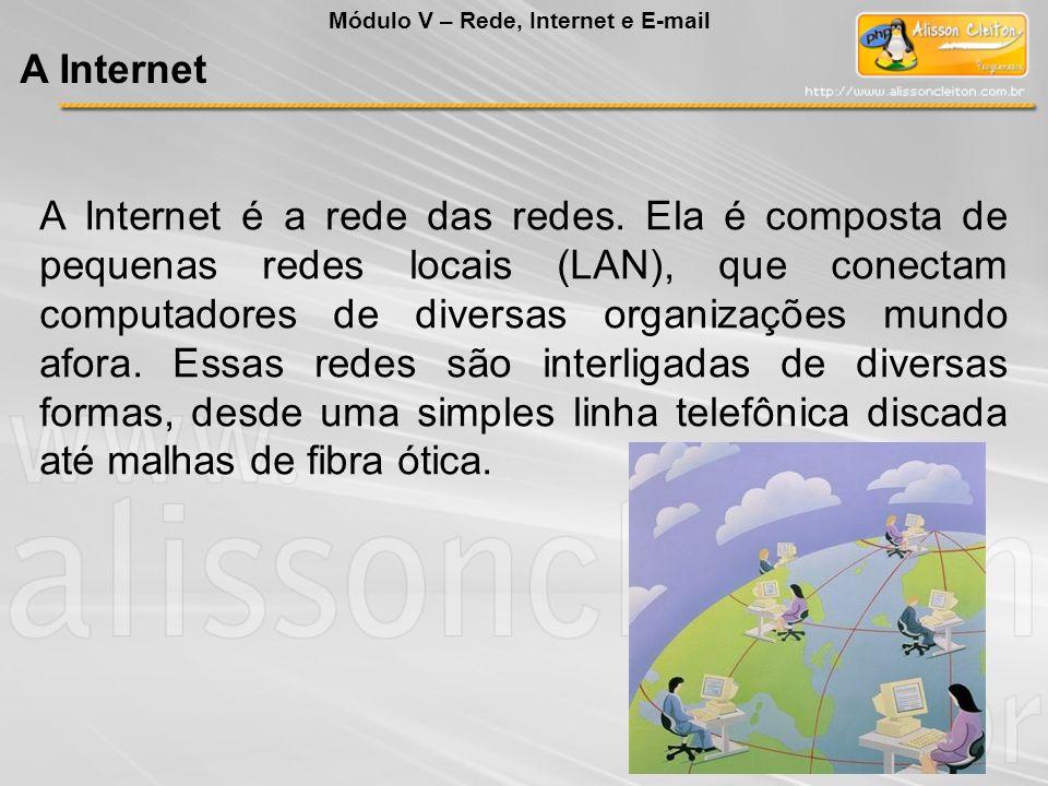 A Internet é a rede das redes. Ela é composta de pequenas redes locais (LAN), que conectam computadores de diversas organizações mundo afora. Essas re