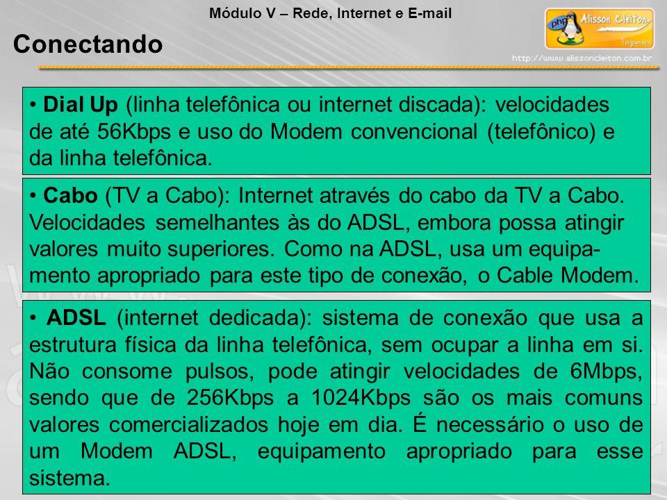 Dial Up (linha telefônica ou internet discada): velocidades de até 56Kbps e uso do Modem convencional (telefônico) e da linha telefônica. Cabo (TV a C