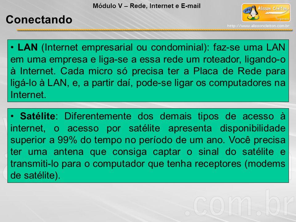 LAN (Internet empresarial ou condominial): faz-se uma LAN em uma empresa e liga-se a essa rede um roteador, ligando-o à Internet. Cada micro só precis