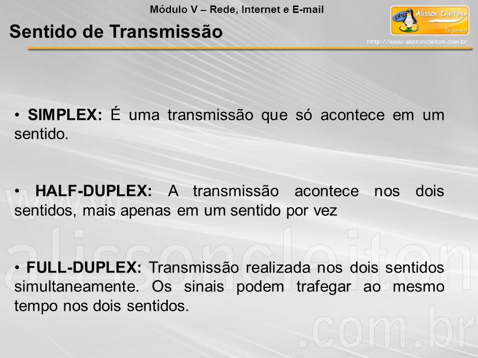 SIMPLEX: É uma transmissão que só acontece em um sentido. HALF-DUPLEX: A transmissão acontece nos dois sentidos, mais apenas em um sentido por vez FUL