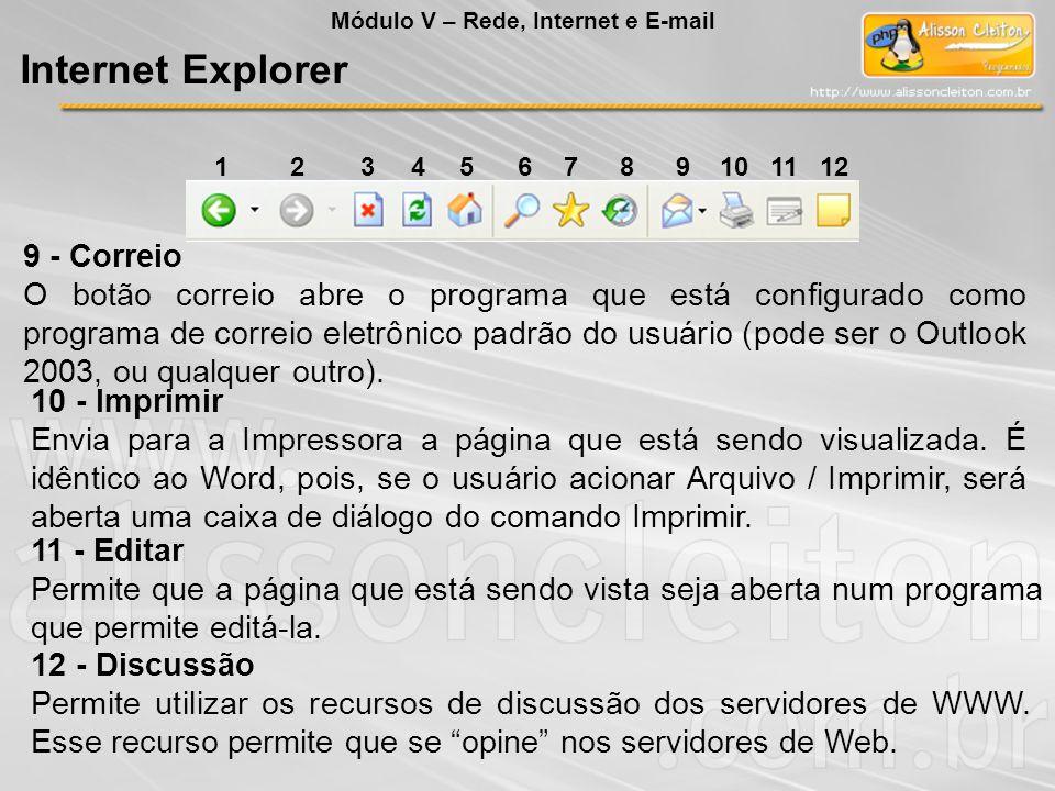 9 - Correio O botão correio abre o programa que está configurado como programa de correio eletrônico padrão do usuário (pode ser o Outlook 2003, ou qu