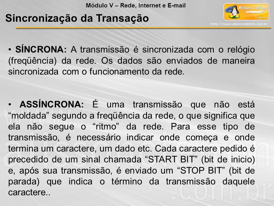 SÍNCRONA: A transmissão é sincronizada com o relógio (freqüência) da rede. Os dados são enviados de maneira sincronizada com o funcionamento da rede.