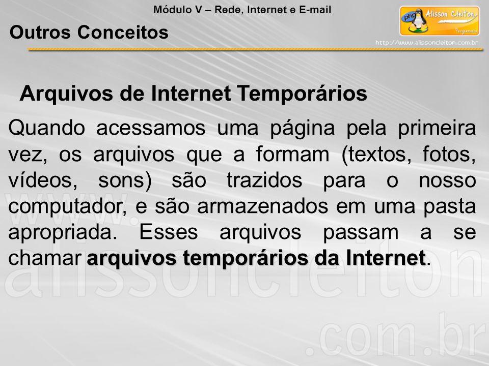 Arquivos de Internet Temporários arquivos temporários da Internet Quando acessamos uma página pela primeira vez, os arquivos que a formam (textos, fot