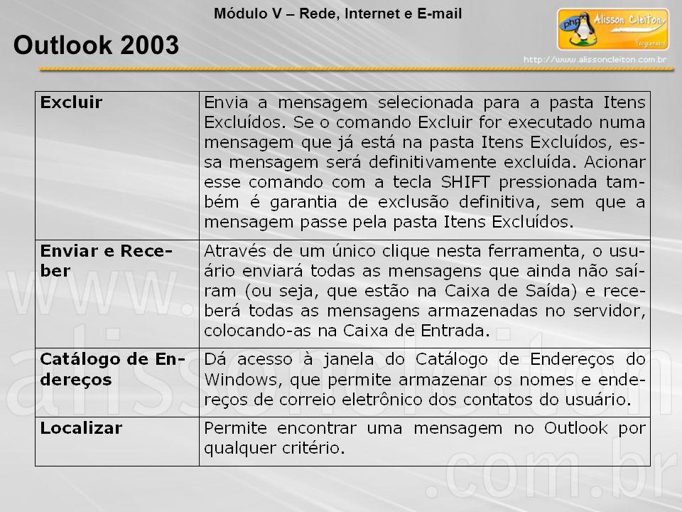 Módulo V – Rede, Internet e E-mail Outlook 2003