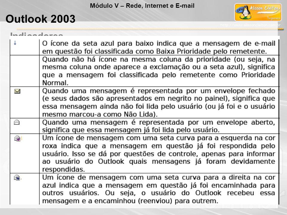 As pastas do Outlook são: Caixa de Entrada: guarda as mensagens que o usuário recebeu. Caixa de Saída: guarda as mensagens que o usuário enviou, mas q