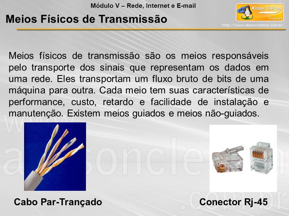 Meios físicos de transmissão são os meios responsáveis pelo transporte dos sinais que representam os dados em uma rede. Eles transportam um fluxo brut