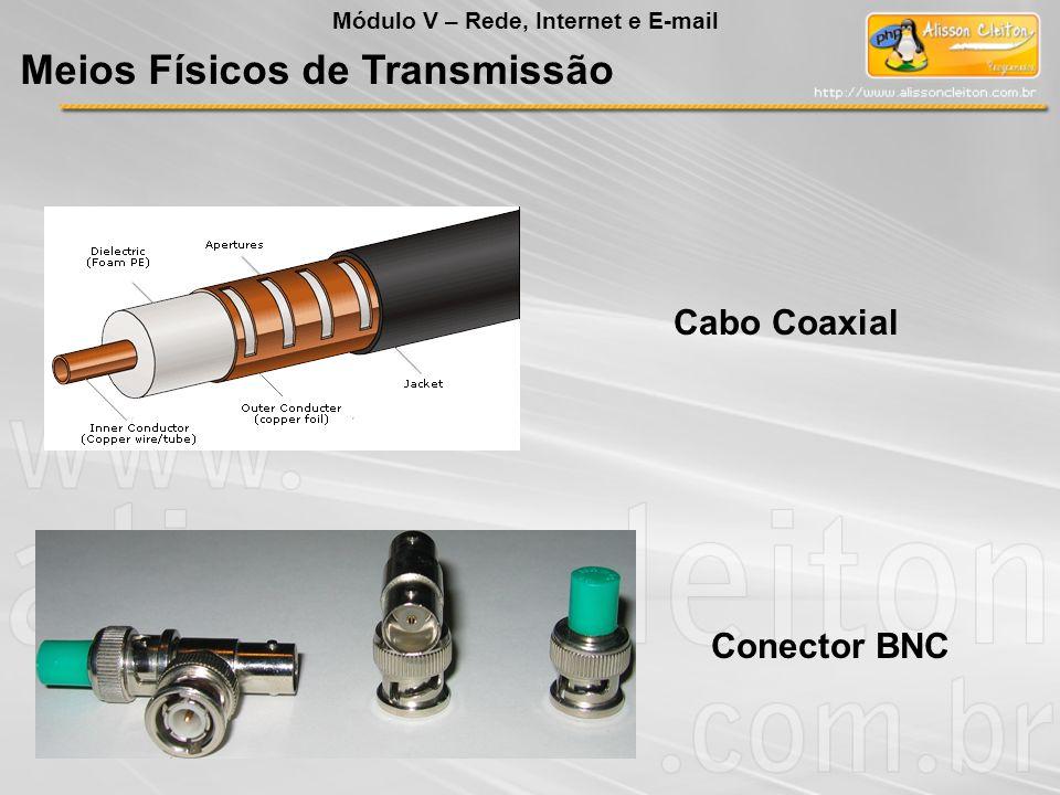 Cabo CoaxialConector BNC Meios Físicos de Transmissão Módulo V – Rede, Internet e E-mail
