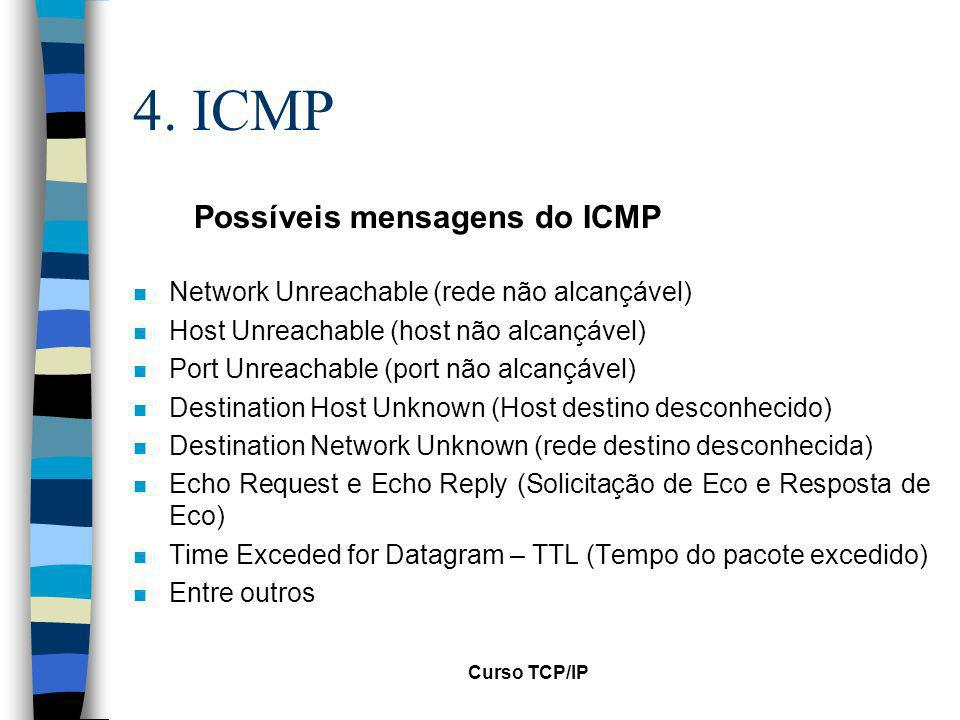 Curso TCP/IP 4. ICMP n Network Unreachable (rede não alcançável) n Host Unreachable (host não alcançável) n Port Unreachable (port não alcançável) n D