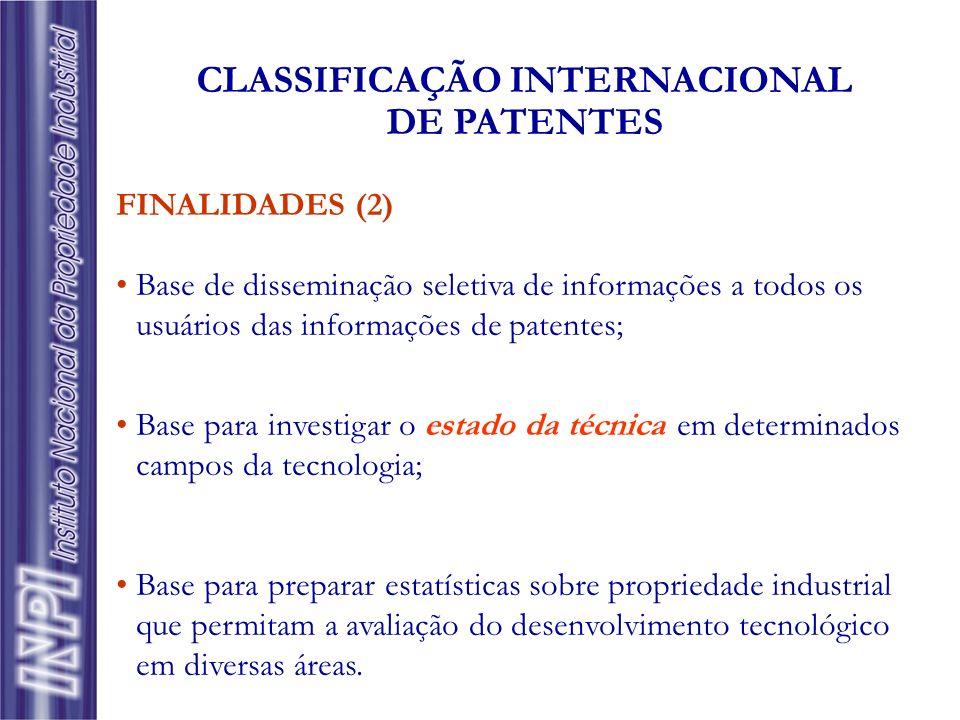 FINALIDADES (2) Base de disseminação seletiva de informações a todos os usuários das informações de patentes; Base para investigar o estado da técnica