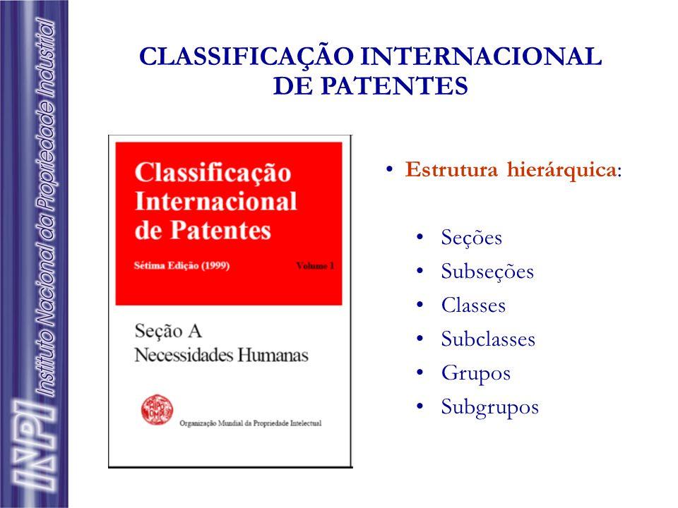 Estrutura hierárquica: Seções Subseções Classes Subclasses Grupos Subgrupos CLASSIFICAÇÃO INTERNACIONAL DE PATENTES