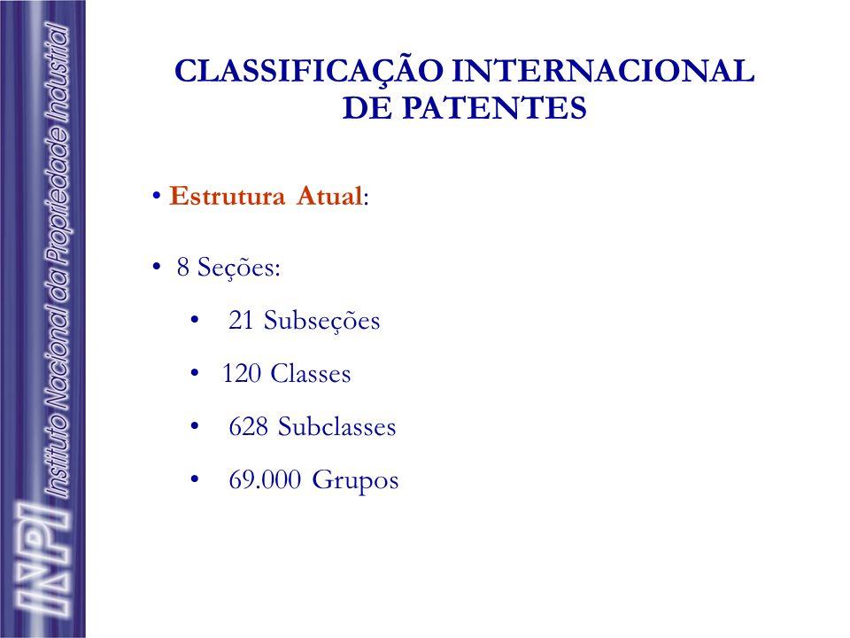 Estrutura Atual: 8 Seções: 21 Subseções 120 Classes 628 Subclasses 69.000 Grupos CLASSIFICAÇÃO INTERNACIONAL DE PATENTES