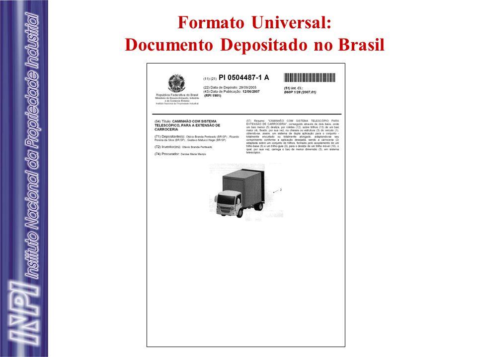 Formato Universal: Documento Depositado no Brasil