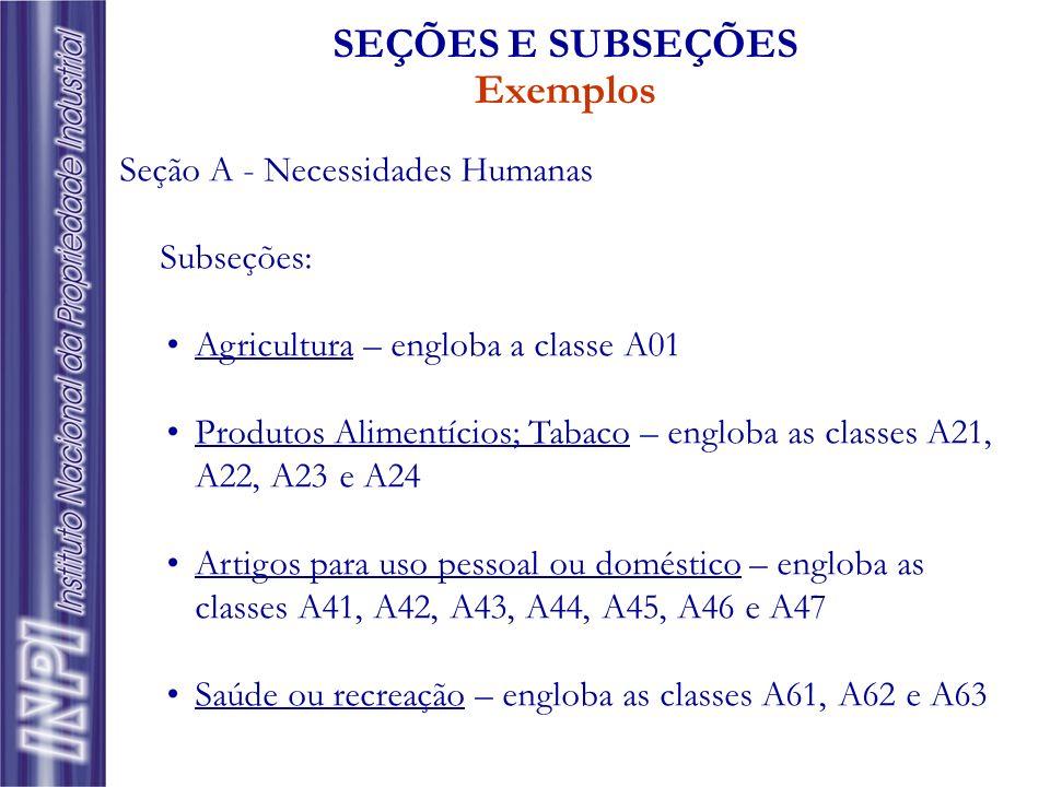 Seção A - Necessidades Humanas Subseções: Agricultura – engloba a classe A01 Produtos Alimentícios; Tabaco – engloba as classes A21, A22, A23 e A24 Ar