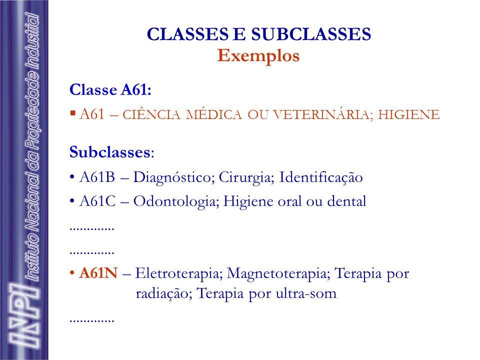 Classe A61: A61 – CIÊNCIA MÉDICA OU VETERINÁRIA; HIGIENE Subclasses: A61B – Diagnóstico; Cirurgia; Identificação A61C – Odontologia; Higiene oral ou d