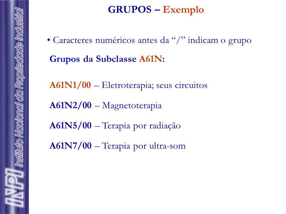 GRUPOS – Exemplo Grupos da Subclasse A61N: A61N1/00 – Eletroterapia; seus circuitos A61N2/00 – Magnetoterapia A61N5/00 – Terapia por radiação A61N7/00