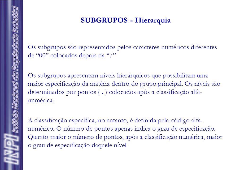 Os subgrupos são representados pelos caracteres numéricos diferentes de 00 colocados depois da / Os subgrupos apresentam níveis hierárquicos que possi