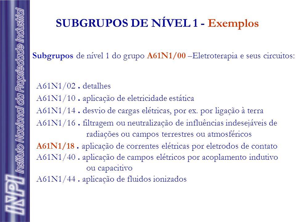 A61N1/02. detalhes A61N1/10. aplicação de eletricidade estática A61N1/14. desvio de cargas elétricas, por ex. por ligação à terra A61N1/16. filtragem